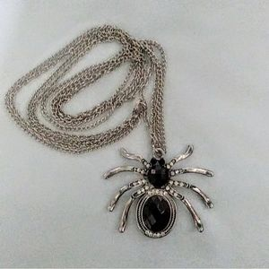 Black Spider Necklace Silver Long Chain  17Inch
